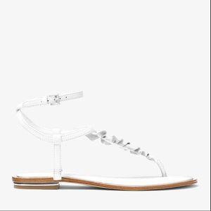 Michael Kors Bella Ruffled Leather Sandal